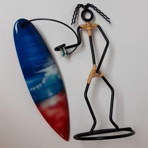 Metal Surfer Tropical Beach home decor Accent piec